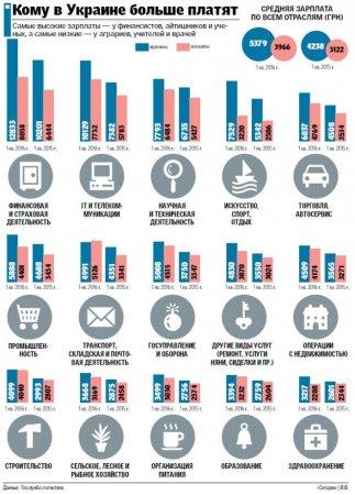 Кому в Украине больше платят: средняя зарплата по всем отраслям